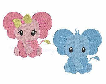 Diseño de bordado de la máquina de elefante - pes bebé bordado Set - descargar INSTANT - hus jef vip vp3 xxx dst exp - 6 tamaños