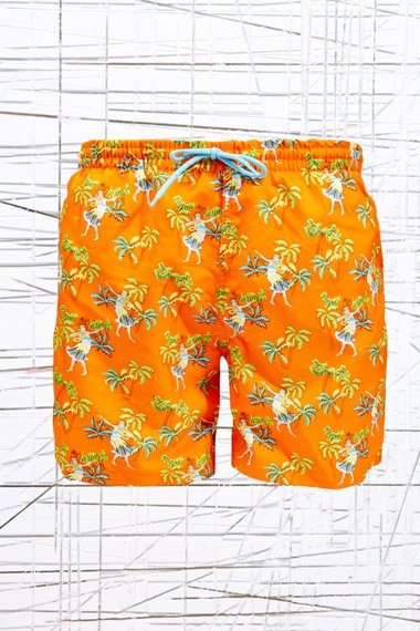 Crooked Wave Swim Shorts in Hawaiian Print at Urban Outfitters