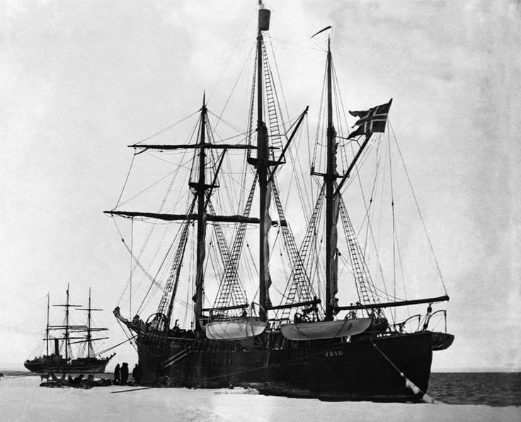 The Norwegian ship Fram, foreground, encounters the British Terra Nova off Antarctic pack ice in 1911. The Fram carried Roald Amundsen, who would reach the South Pole in 1911 a month before Robert F. Scott, in Terra Nova. (Corbis)