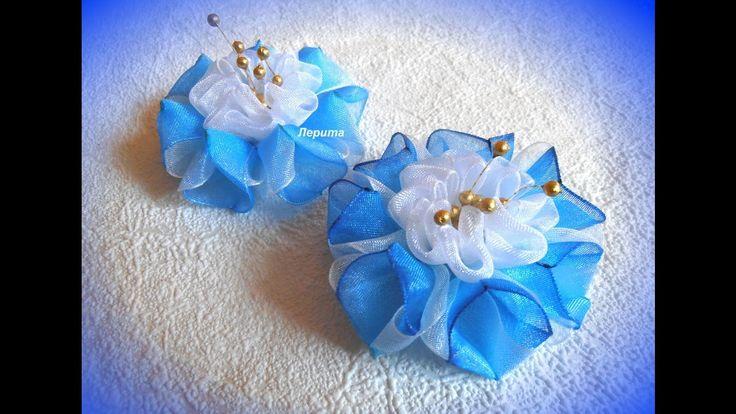 Воздушные цветы канзаши из органзы, мастер класс Лерита.