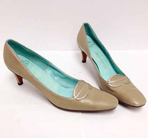 Vintage-50s-60s-Taupe-Leather-Sole-Mod-Secretary-High-Heel-Women-Shoes-9-5-B