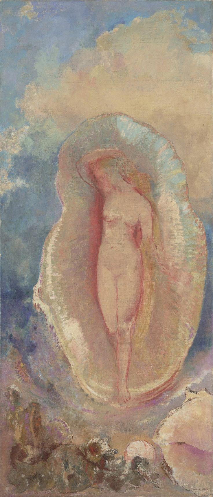 "The Birth of Venus (ca. 1912) by Odilon Redon (b. Bertrand-Jean Redon, 20 April 1840; Bordeaux, France – d. 6 July 1916; Paris, France) Oil on canvas, 56 ⅜ × 24 ⅝"" (143.2 × 62.5 cm) Not on view, MoMA (Museum of Modern Art), NYC https://en.wikipedia.org/wiki/Odilon_Redon"
