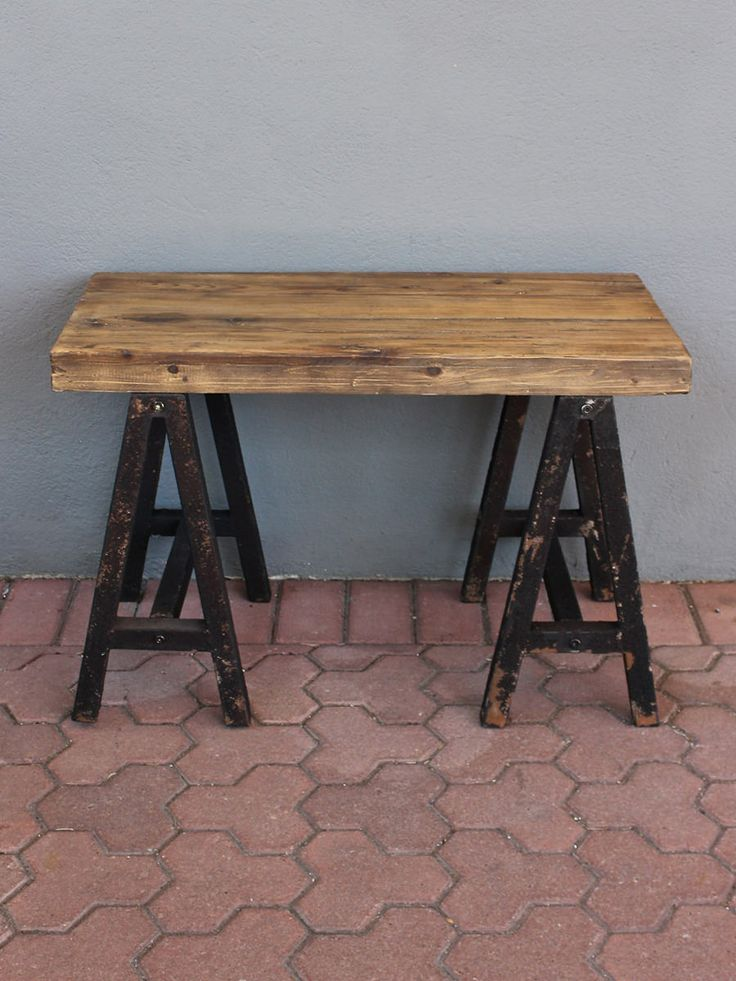 Early Primitive American Style Meets The Industrial Era In This Wood Table  With Blackened Metal Sawhorse Part 22