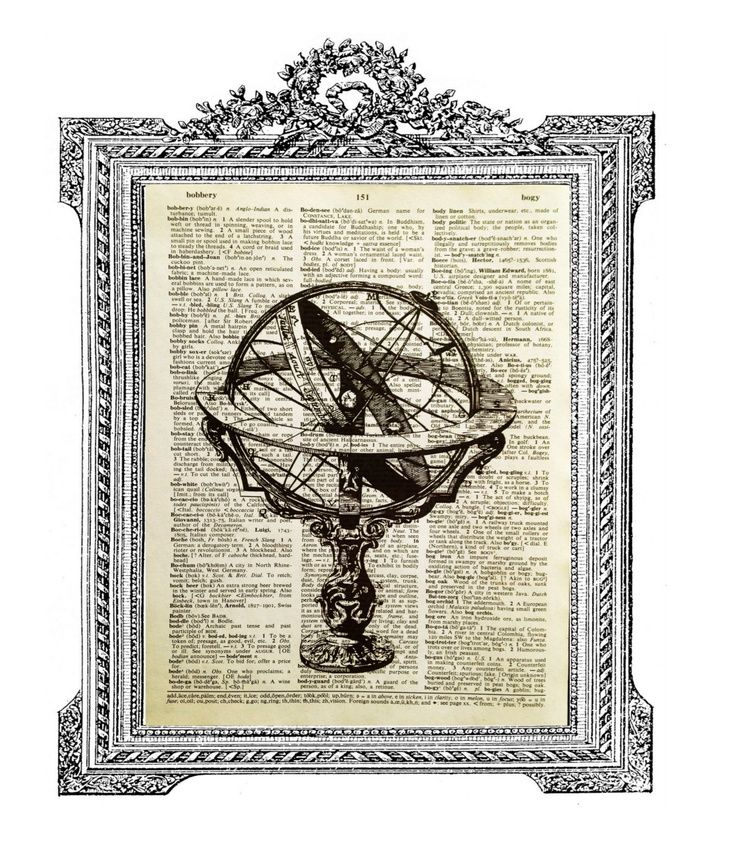 Dictionary Print - VINTAGE Steampunk Globe - Upcycled Book Print - Fits 8x10 frame or larger with matting. $9.50, via Etsy.