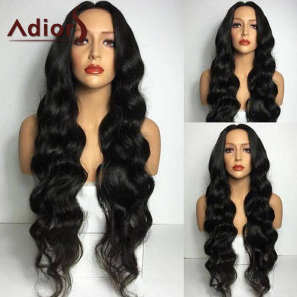 Wholesale Adiors Long Middle Part Wavy Synthetic Wig BLACK , Synthetic Wigs - Rosewholesale