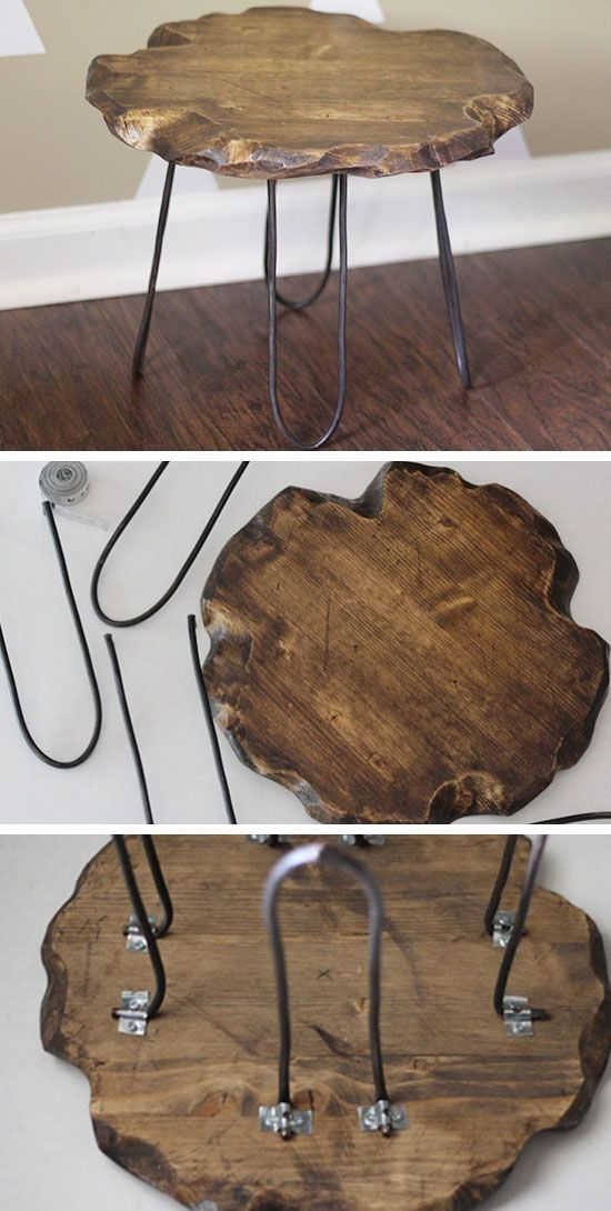 Rustic Stool with Hairpin Legs   27 DIY Rustic Decor Ideas for the Home   DIY Rustic Home Decorating on a Budget by guida