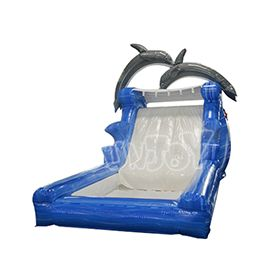 16' dolphin inflatable water slide with pool for sale, commercial quality inflatables from sunjoy.