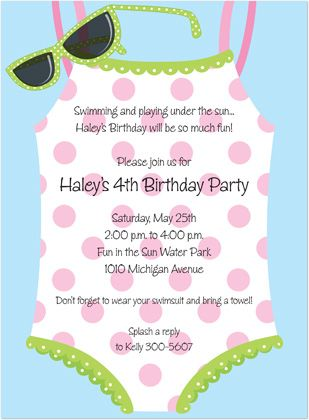 Kids Pool Birthday Party Invitations, Swimsuit Sunglasses, 14711