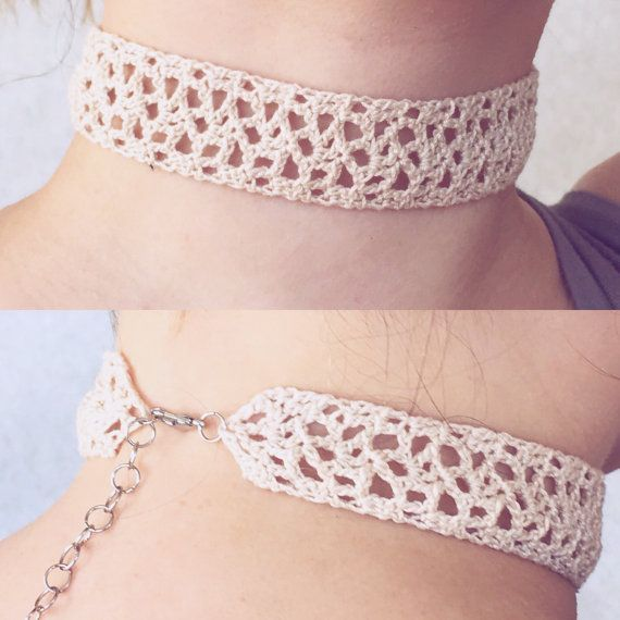 Cream Crochet Choker Fancy Lace Choker Necklace by WardleCrafts