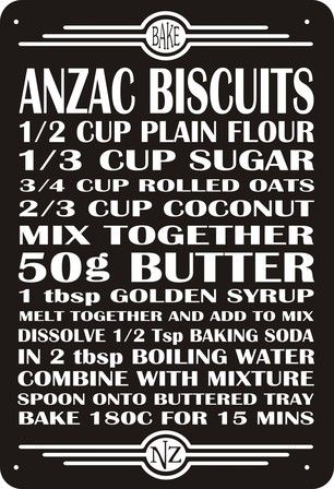 Anzac Biscuits, these were sent to the men at war, it stands for australia new zealand army core