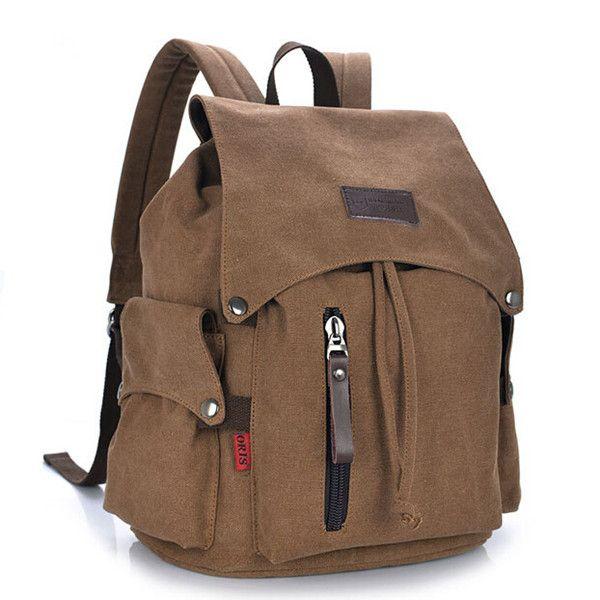 Homens Mulheres lona mochila de viagem Mochila Escolar Casual