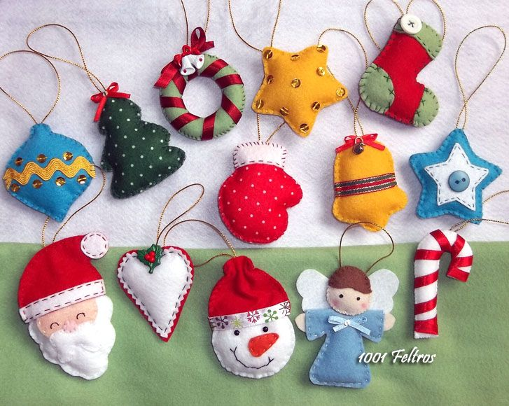 Christmas felt ornaments set