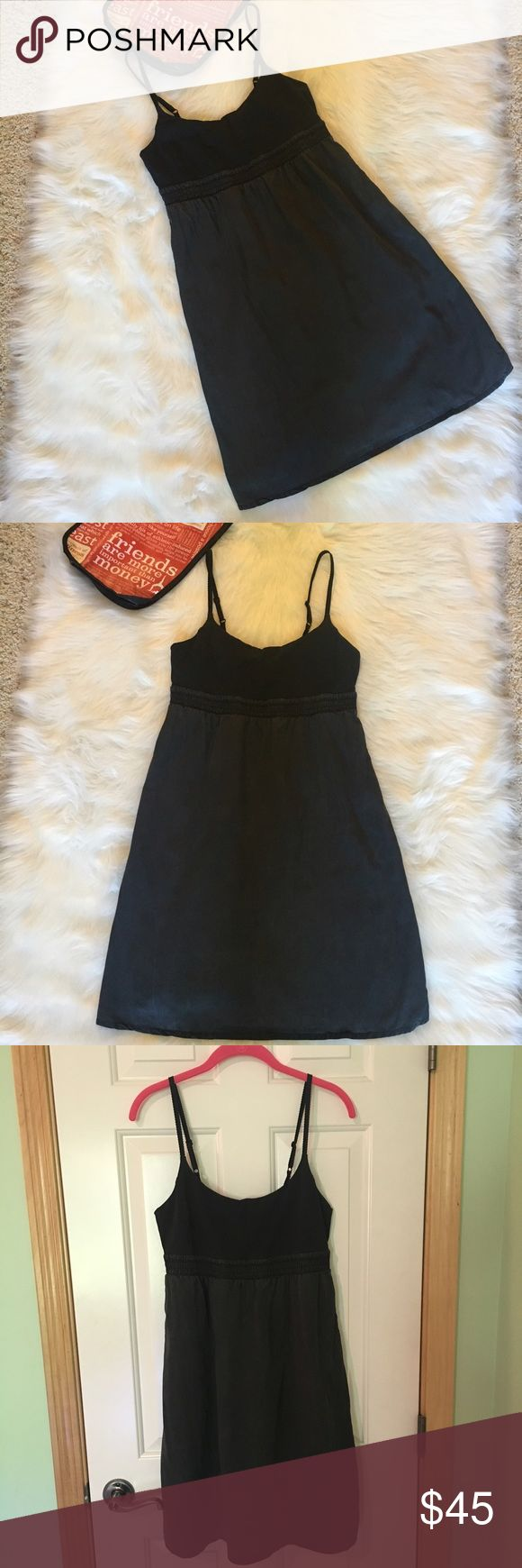 "lululemon athletica dress lululemon dress size 10.  Charcoal gray and black.  Built in support with the option to add padding.  Removable padding not included.  Adjustable straps.  Hidden side pockets.  Measures approximately 36"" depending on length of straps.  Bottom part is made with a cotton/ tencel like fabric.  It's not satin, but it looks like a brushed satin and bottom does not stretch but is very flowy and roomy, and lined.  Top is stretchy, elastic  band under chest measures 15""…"