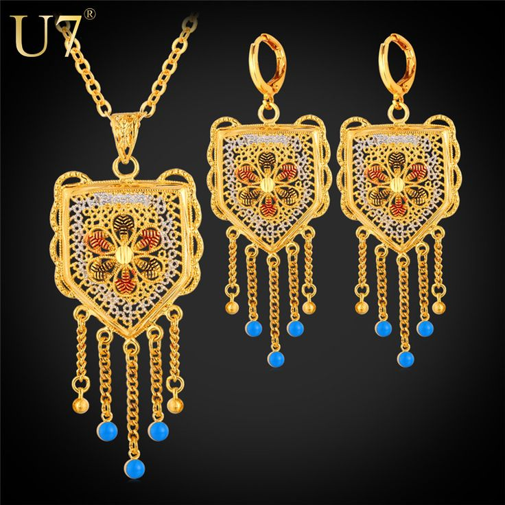U7 Wedding Accessories Tassels Long Necklace Set Gold Plated Trendy Party Long Earrings Indian Jewelry Set For Women S631
