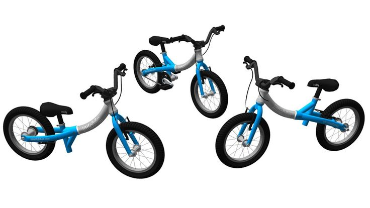 Animation showing how the LittleBig grows from a little to big balance bike into a kids pedal bike.