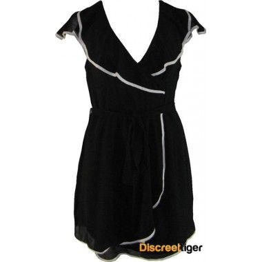 Check out this really cute wrap-over skater dress with white contrasting piping trim. It has comfortable short wavy sleeves and a tie up waist band, while the neckline plunges to mid length. The dress sits above the knee and also has an invisible zipper running up the back. A really comfortable summer dress that will suit a variety of scenes.