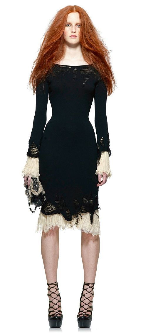 fall / winter style inspiration: Alexander McQueen - silk trim distressed wool dress
