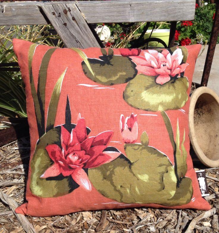 Vintage linen teatowel cushion.