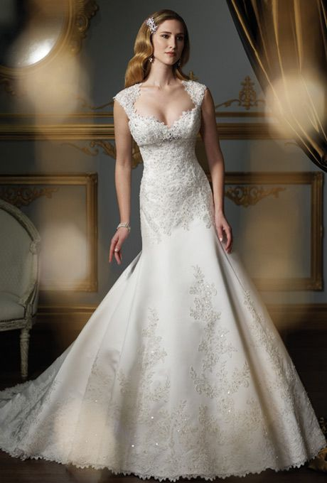James Clifford Collection - J21325 - Wedding Dress. Too much cleavage, but otherwise I like the neckline.