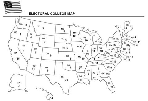 Education World: Electoral College Map - for kids to color in as we watch the election
