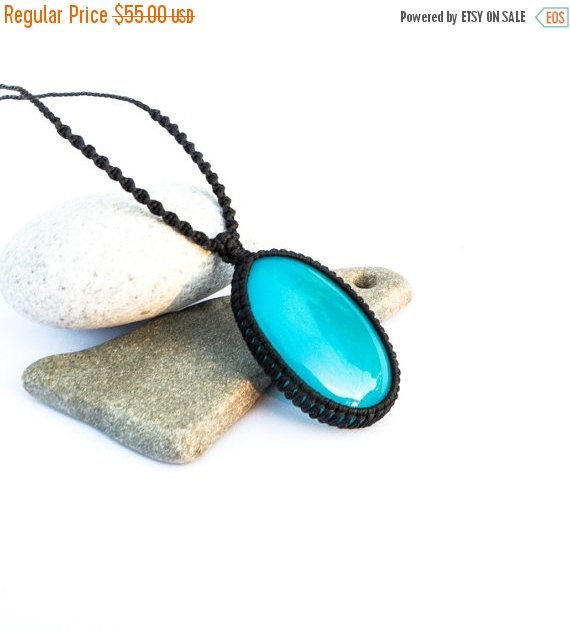 Blue Onyx macrame necklace, Large Onyx stone, Light blue gemstone necklace, man necklace, macrame necklace, Boho style, Gift, for him, her