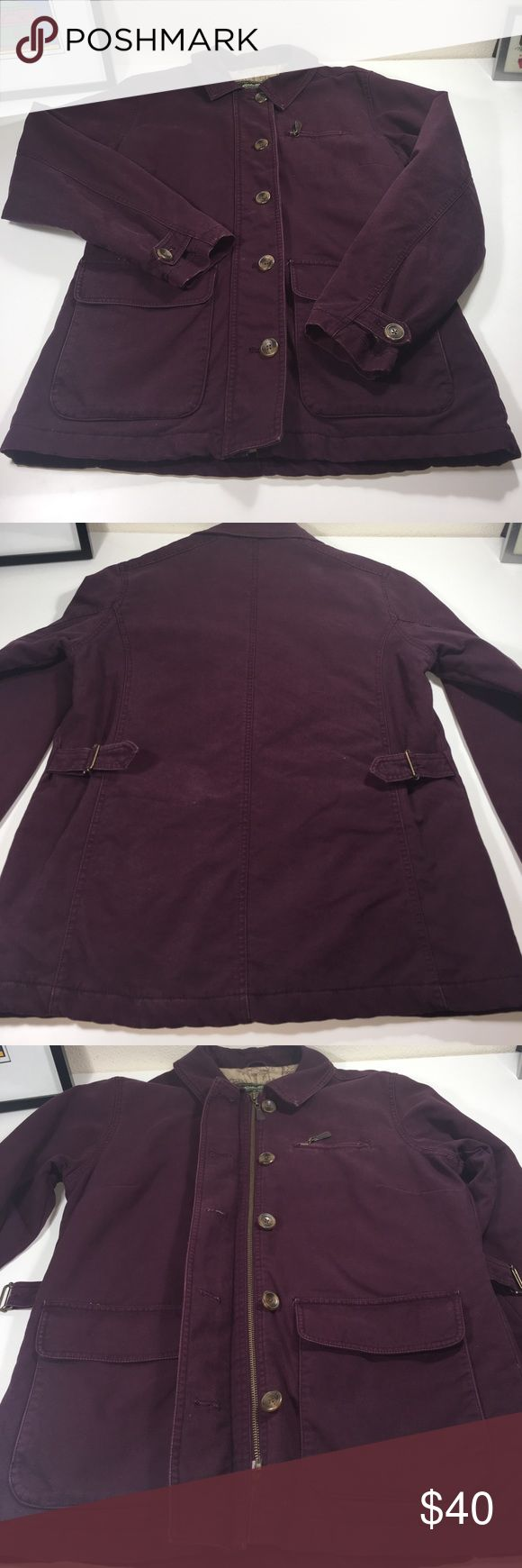 Eddie Bauer 100% Cotton Jacket Sz. M Please see all pictures.  This is a heavy cotton jacket, think Carhartt texture.  Color is maroon in my opinion.  Looks different colors in the pictures because of lighting but I believe that maroon is the most accurate description.  Waist cincher/adjusters on back for a tailored fit.  No flaws that I can find.  Fees thick like it has poly fill for insulation.  Bundle to save!  Sorry, no trades.  Poshmark sales are final.  Ask questions is any, see al…