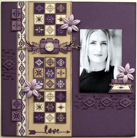 Bonjour, je vous présente ma création, réalisée avec la collection Dakota Valley ! j'adore ce combo de violet/kraft !  ...