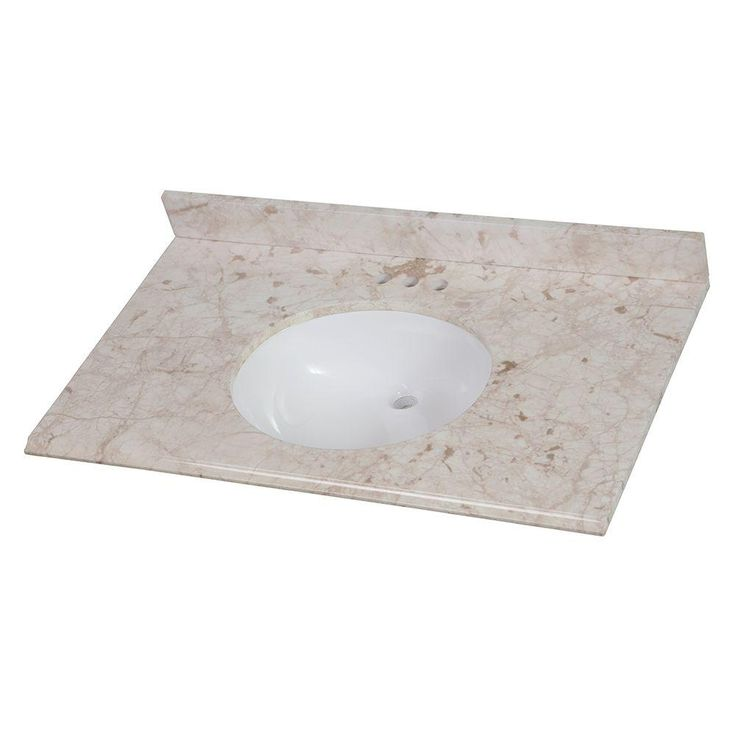 Home Decorators Collection 37 in. Stone Effects Vanity Top in Dune with White Basin-SEOST37COM-DN - The Home Depot $210