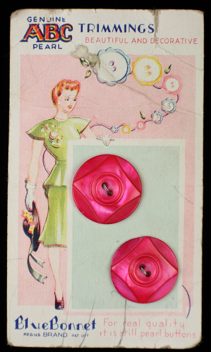 ButtonArtMuseum.com - Antique Carved Pink Pearl MOP Buttons ON Original Color Graphic Store Card