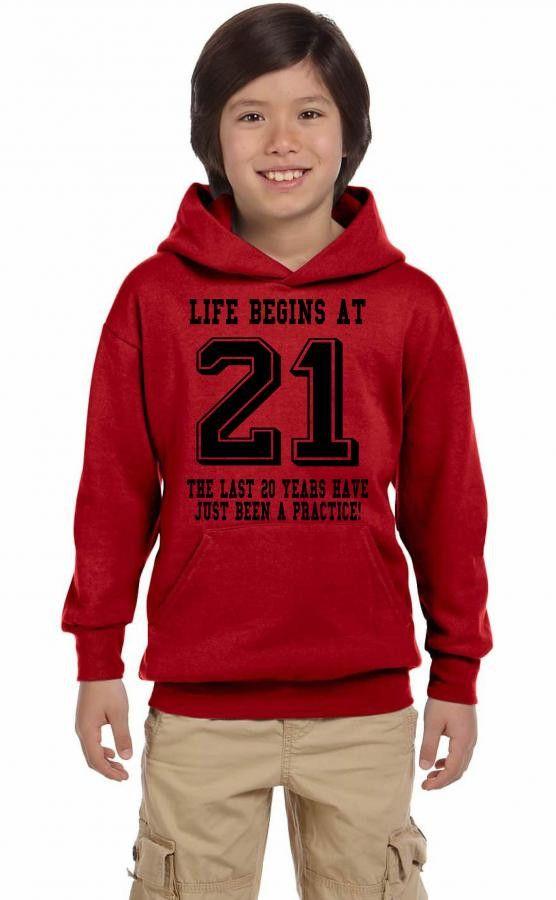 Life Begins At 21... 21st Birthday Youth Hoodie