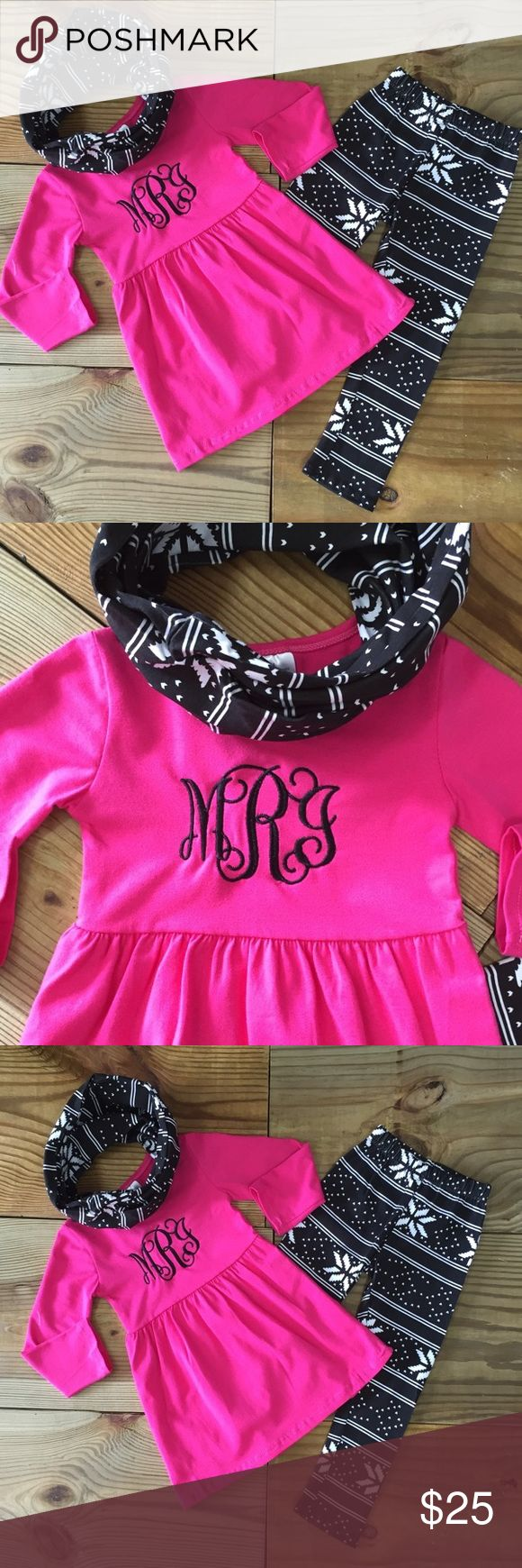 Hot Pink 3-Pc Snowflake Infinity Scarf Outfit Girls 3-Pc snowflake infinity scarf outfit includes a hot pink tunic top, snowflake print leggings, and matching scarf. Perfect for the holidays and all winter! Adorable for photo shoots! Monogram NOT included! cotton/Spandex TRUE TO SIZE....PRICE IS FIRM! Moxie Girl Matching Sets
