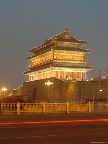 Floodlit Gate on Tiananmen Square, China