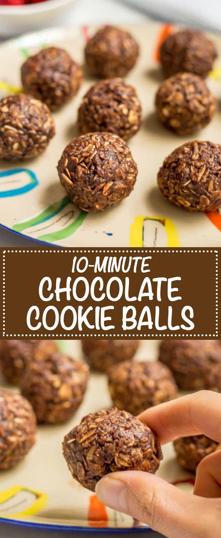 These 10-minute no-bake chocolate cookie balls use just 6 wholesome ingredients for an easy, tasty snack that's also gluten-free and vegan! | www.familyfoodonthetable.com
