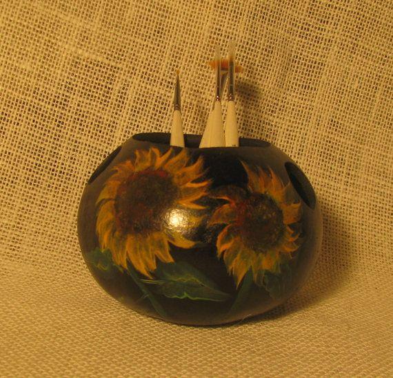 Handpainted Sunflower Gourd Bowl, Southwestern Native American Art, Gourd Art Woodland Decor, Trinket Box, Desk Accessory on Etsy, $12.00