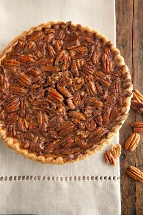 Chocolate Pecan Pie*Paula Deen*1   (9-inch) unbaked pie shell   2 cup pecan halves   3   large eggs, beaten   3 tablespoon butter, melted   1/2 cup dark corn syrup   1 cup sugar   2 tablespoon good-quality bourbon   3 ounce semisweet chocolate, chopped .Preheat 375 Bake 10 mins.Loser oven temperature to 350 & bake for 25 more minutes.