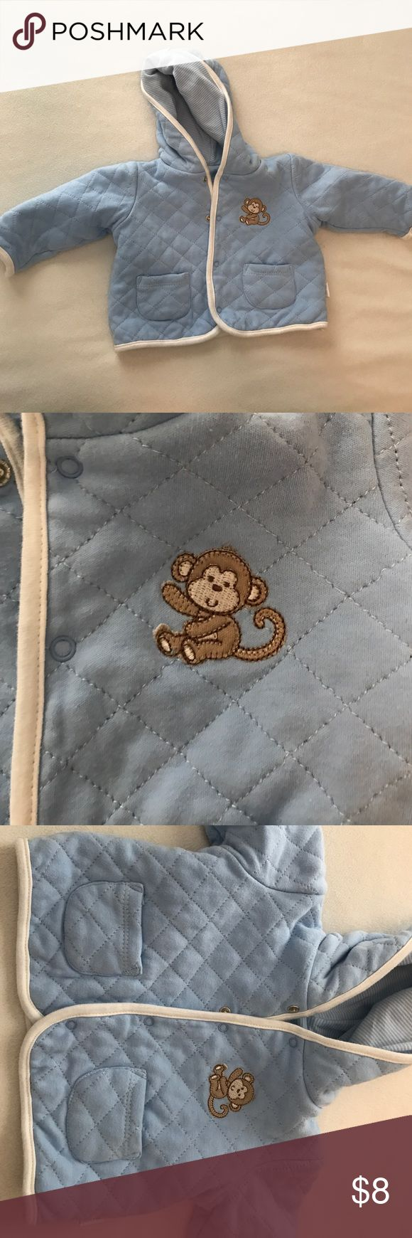 Quilted baby boy jacket Super cute, quilted baby boy jacket with hood, pockets and adorable monkey Jackets & Coats
