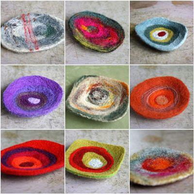 needle felted mosaic-brooches - photo