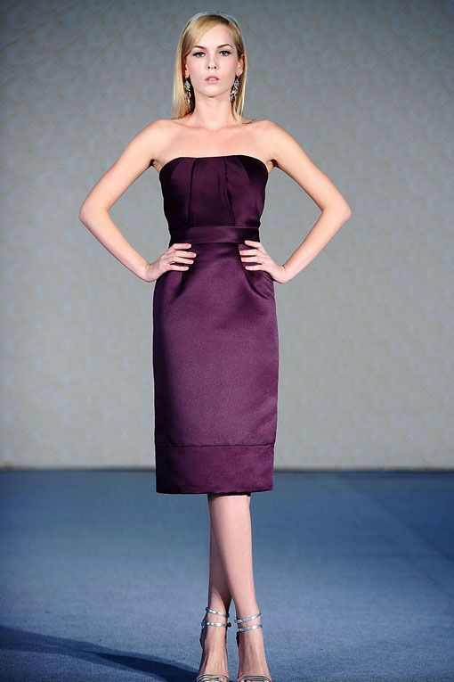 Fashionable A-line natural waist satin dress for bridesmaid