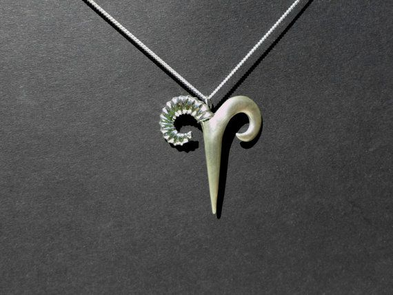 Sign jewelry Ram horns Aries necklace sterling by jewelsculpts