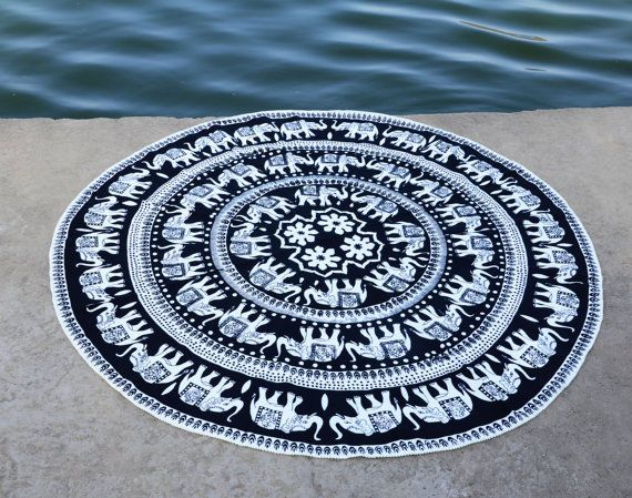 Elephant round roundie mandala wall hippie tapestry online sale at lowest price #Handmade