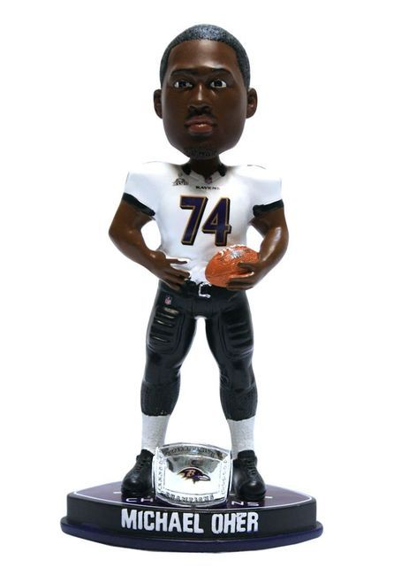 Baltimore Ravens Michael Oher Forever Collectibles Super Bowl 47 Champ Ring Bobblehead Z157-8784911565