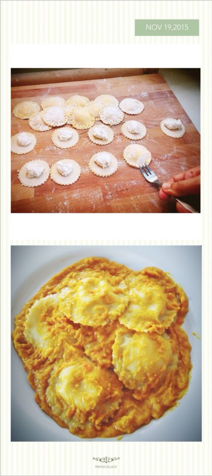 Home made ravioli filled with parmiggiano cream in pumpkin sauce.