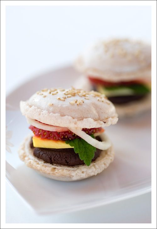 """Burger Style Macarons - C.U.T.E.  Chocolate Ganach """"burger"""",  mango ~ as """"cheese"""",  strawberries ~ as """"tomatoes"""", green apple ~ as """"onion rings"""",  mint leaves ~ as """"lettuce"""""""