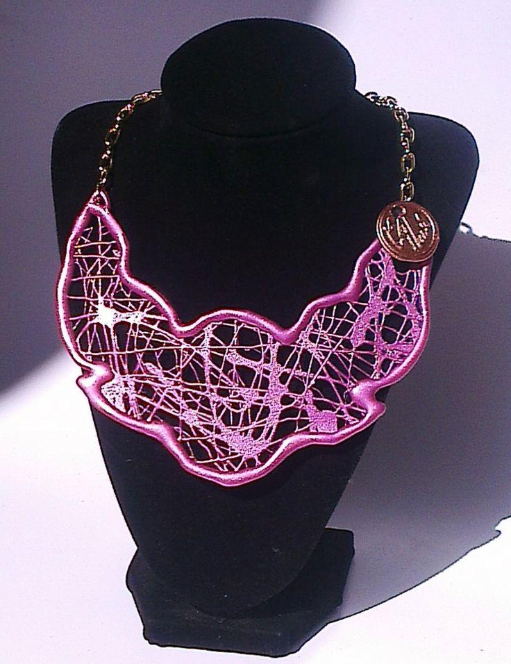 Collar Polimero termofundido Modelo NINA color Rosa metalizado By ArantzaLu