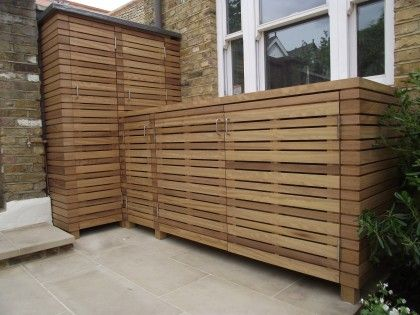 Iroko slatted storage unit by The Garden Trellis Company