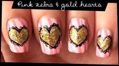 As unhas de meu mundo: Pink Zebra & Gold Hearts nail art