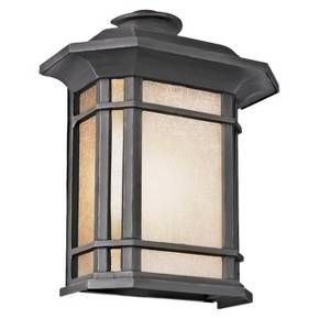 "Light up your home's entryway with the Southwestern 12"" Pocket Light. Its frosted glass, clean lines and classic details will surely get a second look from your guests. This outdoor wall sconce is made of strong, weather-resistant and rust-resistant aluminum and powder-coated for a lasting finish. This light holds 1 incandescent light bulb with a 60-watt maximum."