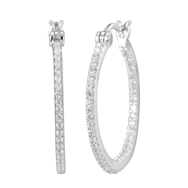 Platinum Plated Sterling Silver Cubic Zirconia Inside Out Hoop Earrings 1 inches Diameter