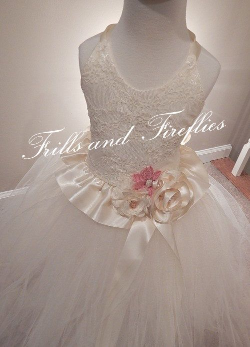 Ivory Lace Halter Flower Girl Dress  Lace by FrillsandFireflies, $125.00