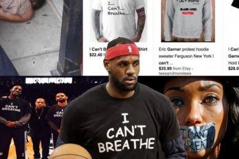 NUEVA YORK. En primer plano, el jugador de la NBA, Lebron James, luce una camiseta con las últimas palabras de Eric Garner, y una fanática de la NFL con un tapaboca de cinta adhesiva, durante un juego de futbol americano.